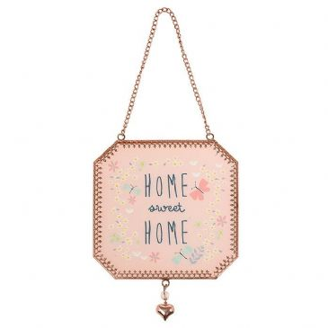 Home sweet Home Tinted Rose Gold Transparent Hanging Sign Plaque